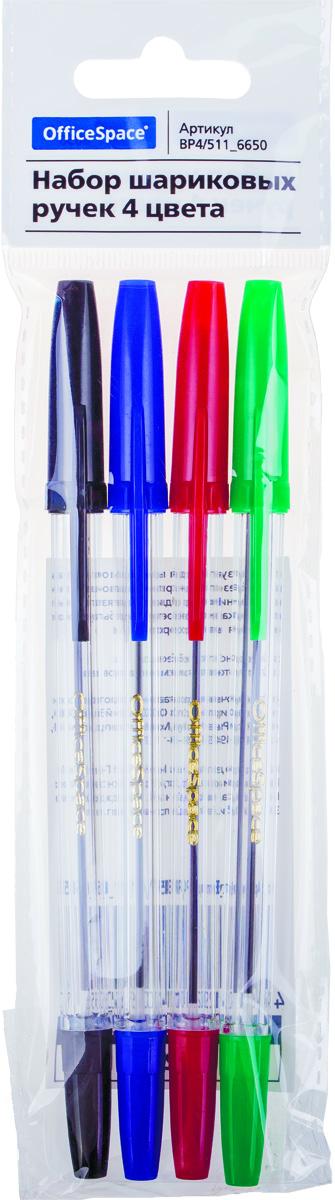 OfficeSpace Набор шариковых ручек 4 цветаBP4/511_6650Набор шариковых ручек OfficeSpace отлично подойдет для оформления конспектов и других текстов, а также альбомов, дневников и открыток.Ручка имеет пишущий узел толщиной 1 миллиметр. Корпус изделий выполнен из прозрачного пластика, цвет колпачка соответствует цвету чернил. В набор входят 4 ручки различных цветов.