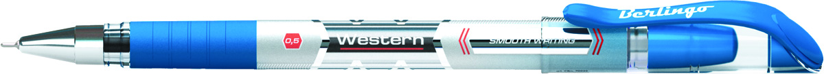 Berlingo Ручка шариковая Western цвет синийCBp_50822Шариковая ручка Berlingo Western с непрозрачным корпусом и пластиковым клипом. Мягкий резиновый грип препятствует скольжению пальцев и обеспечивает комфортное письмо. Диаметр пишущего узла - 0,5 мм. Чернила пониженной вязкости обеспечивают мягкое письмо.