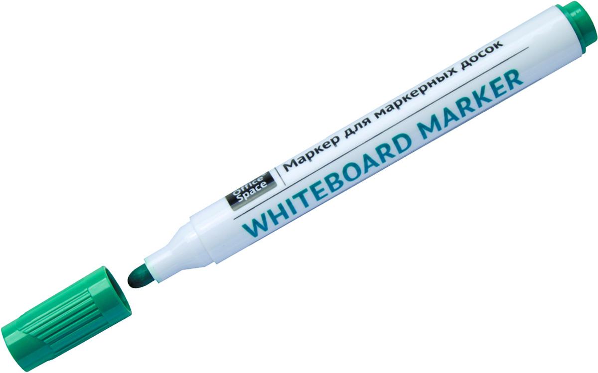 OfficeSpace Маркер для белых досок цвет зеленыйWBM_9491Маркер OfficeSpace предназначен для письма на магнитно-маркерных досках. Закругленный пишущий узел. Толщина линии 2,5 мм. Чернила на спиртовой основе легко стираются сухой губкой для досок. Хранить с закрытым колпачком.