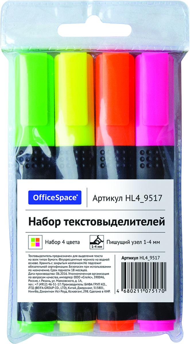 OfficeSpace Набор текстовыделителей 4 цвета HL4_9517HL4_9517Набор текстовыделителей OfficeSpace предназначен для выделения текста на всех типах бумаги. Толщина линии 1-4 мм. Флуоресцентные чернила на водной основе. Набор упакован в ПВХ чехол.В наборе 4 цвета: зеленый, розовый, оранжевый, желтый. Хранить с закрытым колпачком.