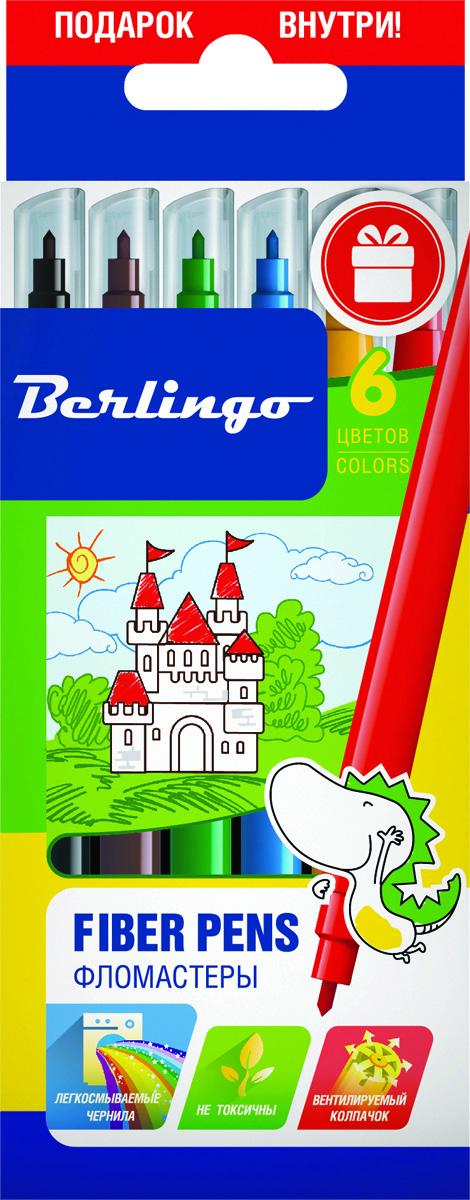 Berlingo Набор фломастеров Замки 6 цветовWP00206Фломастеры Berlingo Замки имеют легкосмываемые чернила, вентилируемый колпачок, нетоксичны, корпус изготовлен из полипропилена. Упакованы в картонную лакированную коробку с петлей-европодвесом. Длина линии не менее 500 м.