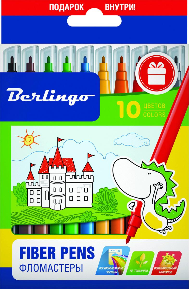Berlingo Набор фломастеров Замки 10 цветов867202-24Фломастеры Berlingo Замки имеют легкосмываемые чернила, вентилируемый колпачок, нетоксичны, корпус изготовлен из полипропилена. Упакованы в картонную лакированную коробку с петлей-европодвесом. Длина линии не менее 500 м.