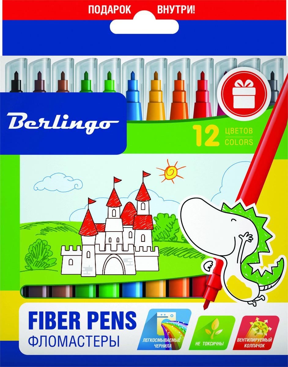 Berlingo Набор фломастеров Замки 12 цветовWP00212Фломастеры Berlingo Замки имеют легкосмываемые чернила, вентилируемый колпачок, нетоксичны, корпус изготовлен из полипропилена. Упакованы в картонную лакированную коробку с петлей-европодвесом. Длина линии не менее 500 м.