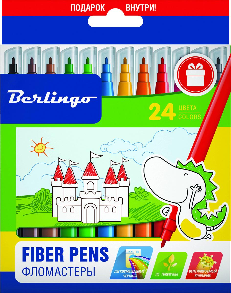 Berlingo Набор фломастеров Замки 24 цветаWP00224Фломастеры Berlingo Замки имеют легкосмываемые чернила, вентилируемый колпачок, нетоксичны, корпус изготовлен из полипропилена. Упакованы в картонную лакированную коробку с петлей-европодвесом. Длина линии не менее 500 м.