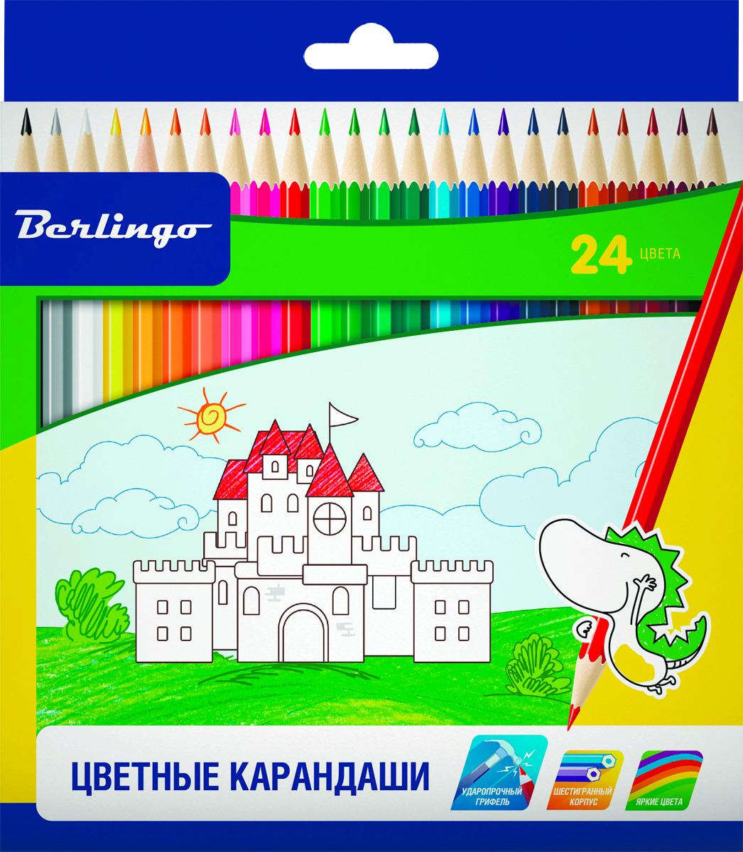 Berlingo Набор цветных карандашей Замки 24 цвета карандаши восковые мелки пастель berlingo карандаши замки 18 цветов