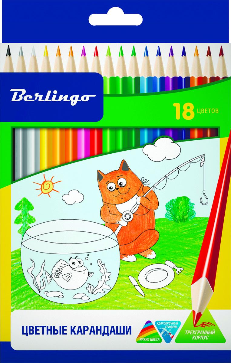 Berlingo Набор цветных карандашей Жил-был кот 18 цветовCP00518Набор цветных карандашей Berlingo Жил-был кот имеют эргономичную трехгранную форму корпуса.Карандаши с заточенным грифелем. Яркие насыщенные цвета. Мягкое письмо. Карандаши легко затачиваются.