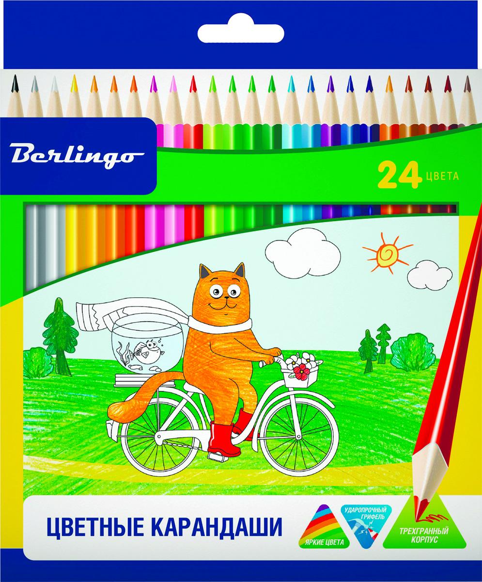 Berlingo Набор цветных карандашей Жил-был кот 24 цветаCP00524Набор цветных карандашей Berlingo Жил-был кот имеют эргономичную трехгранную форму корпуса.Карандаши с заточенным грифелем. Яркие насыщенные цвета. Мягкое письмо. Карандаши легко затачиваются.