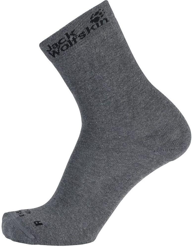 Носки Jack Wolfskin Casual Sock Classic Cut, цвет: серый, 2 пары. 1904511-6320. Размер 41/431904511-6320Носки Casual Sock Classic Cut выполнены из натурального хлопка с добавлением полиамида и эластана. Благодаря содержанию синтетического волокна, эти носки сохнут быстрее, чем носки из натурального хлопка, а влага быстрее испаряется, что помогает предотвратить натирание. Носки имеют классический паголенок, хорошо держат форму и обладают повышенной воздухопроницаемостью, после стирки не меняют цвет, пятка и мысок усилены. Модель дополнена надписью с названием бренда.