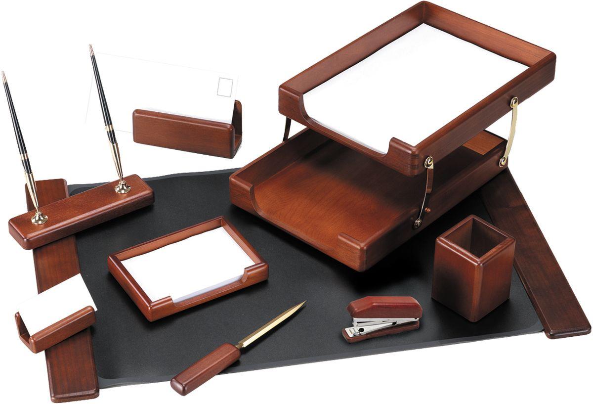 Delucci Канцелярский набор 9 предметов цвет темно-коричневый орех MBn_09207 -  Органайзеры, настольные наборы