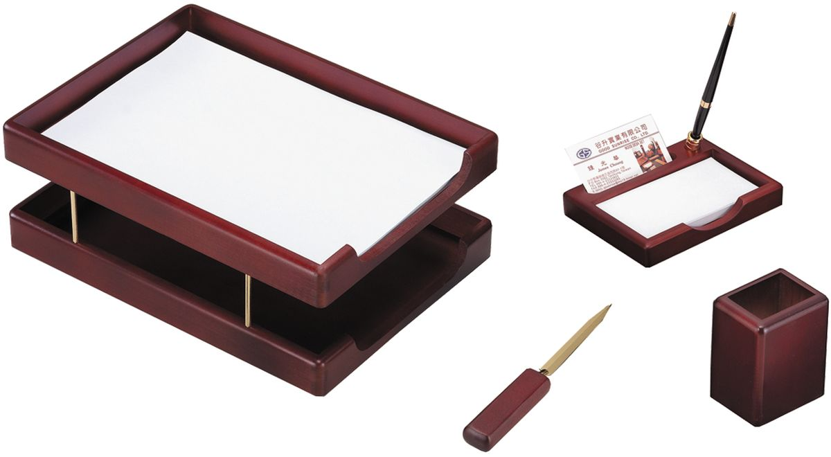 Delucci Канцелярский набор 4 предмета цвет красное деревоMBn_04101Канцелярский набор Delucci включает в себя 4 предмета: подставка для ручек, объединенная с подставкой для бумажных блоков и углублением для визитницы, подставка для карандашей, нож для открывания писем, двухуровневый лоток для бумаг. Цвет предметов - красное дерево.