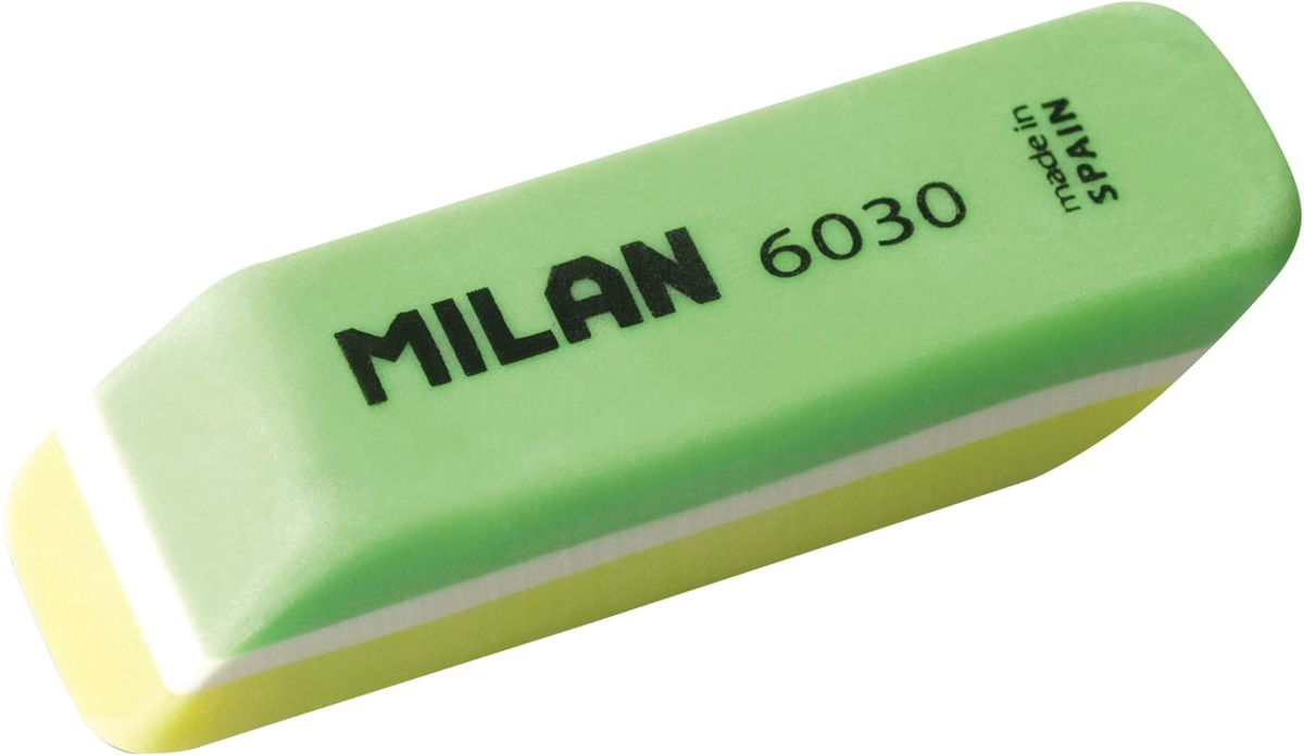 Milan Ластик 6030 скошенный цвет зеленый желтый milan ластик 424 а