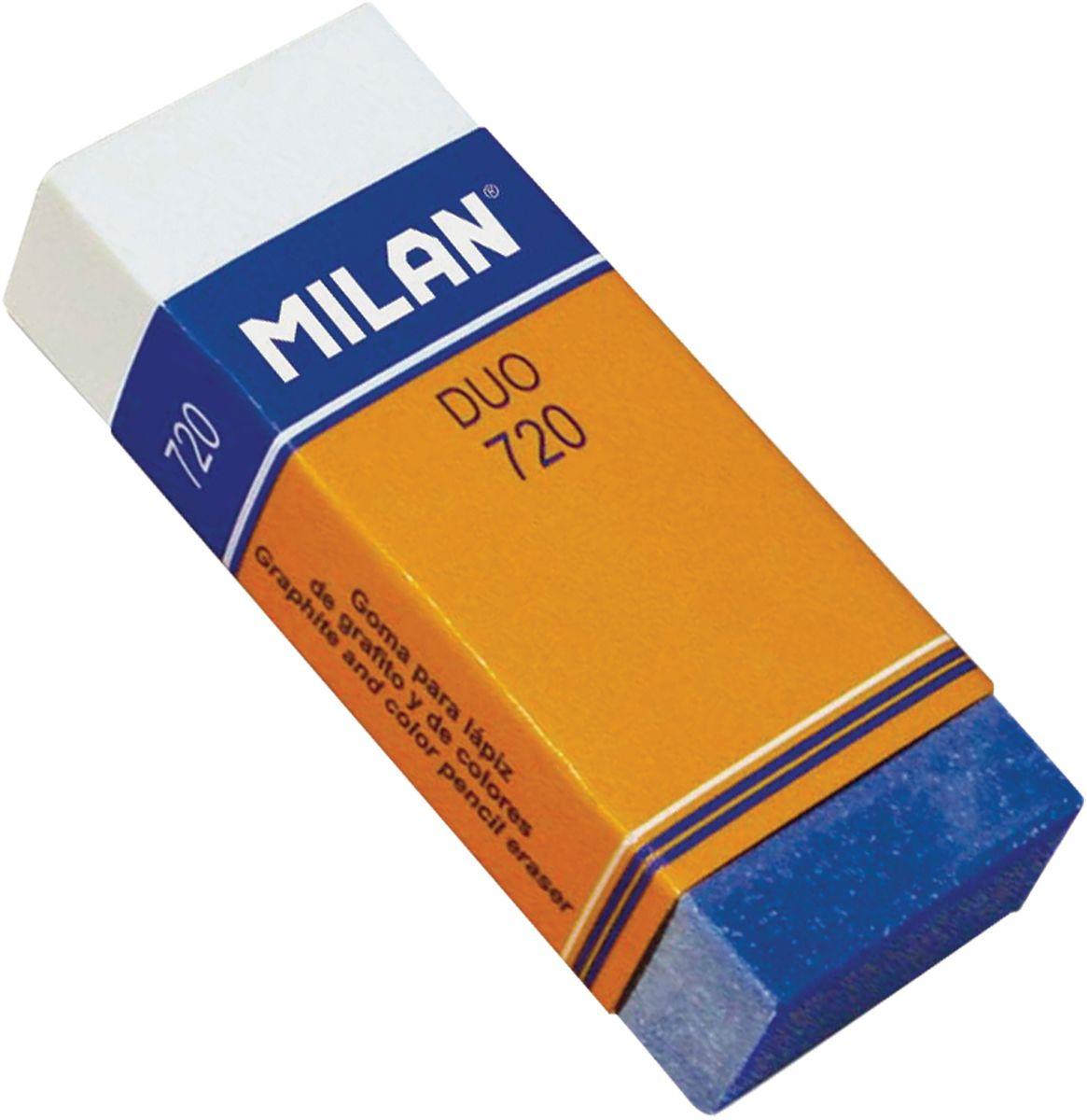 Milan Ластик Duo 720 прямоугольныйCPM720Ластик Milan Duo 720 - это высокоэффективный синтетический ластик нового поколения для работы с любыми видами графита и пигментов. Яркое дизайнерское решение подсказано функциональными особенностями полимерных добавок, повышающих абсорбирующие свойства и гарантирующих бережное отношение к структуре бумаги.