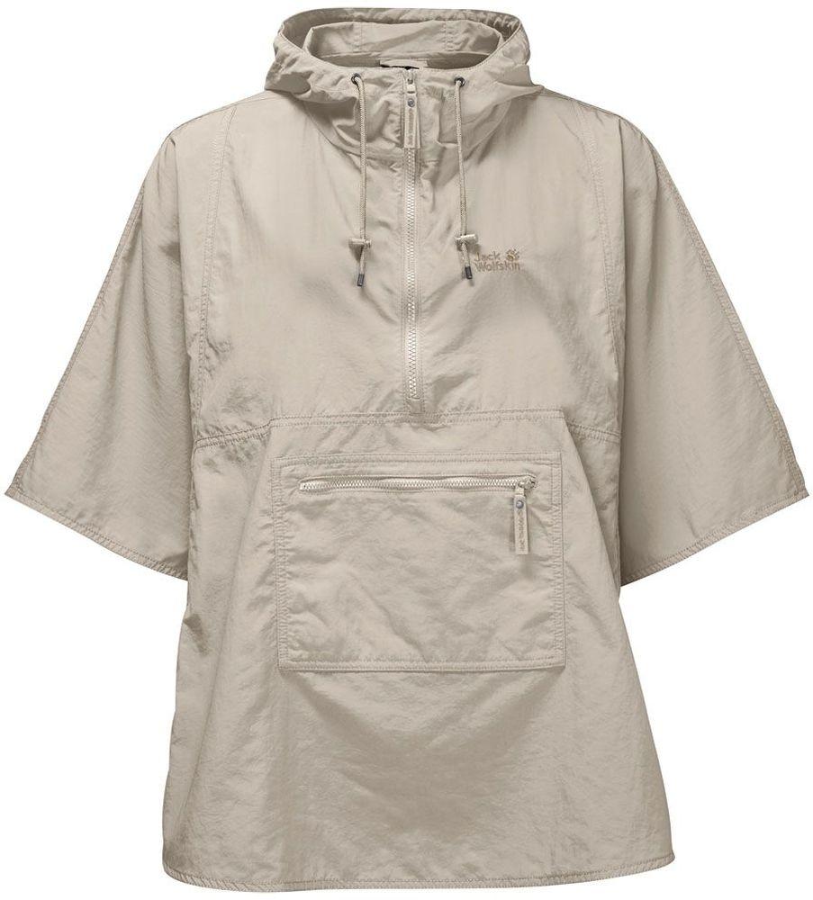 Пончо женское Jack Wolfskin Atacama Poncho W, цвет: бежевый. 1304551-5505. Размер L (48)1304551-5505Пончо женское Atacama Poncho W изготовлено из 100% полиамида. Ткань легкая, прочная, она быстро сохнет и обладает высокой защитой от ультрафиолета (UPF 40+). Модель имеет широкий рукав 3/4, воротник на молнии и капюшон с регулировкой объема, который защитит голову и шею. Модель имеет карман на молнии спереди, в который компактно складывается. Поэтому пончо удобно брать с собой, так как оно не займет много места у вас в рюкзаке. Такое пончо идеально подходит для путешествий и походов.