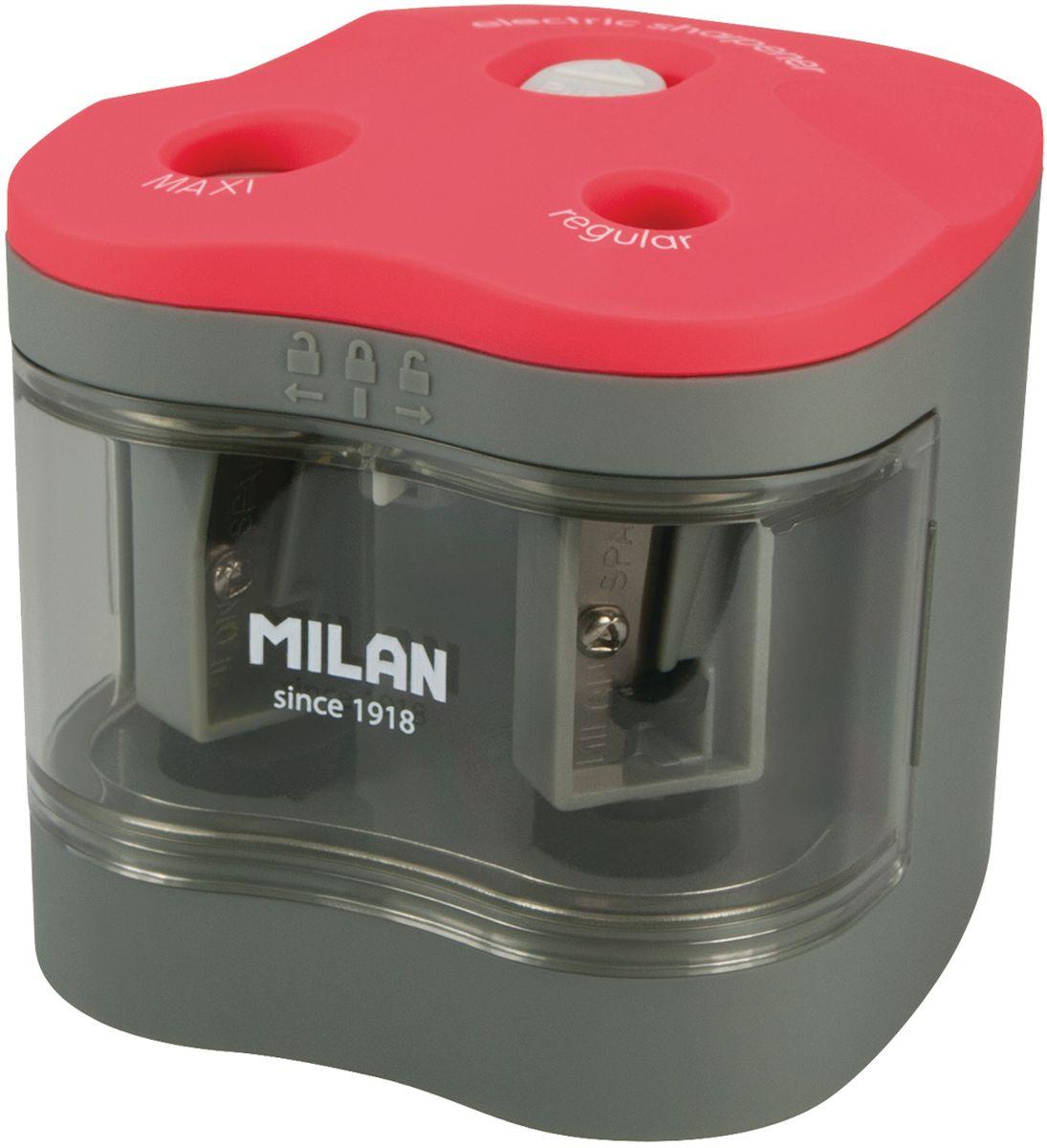 Milan Точилка электрическая Maxi Regular с контейнеромBWM10278Электрическая точилка Milan Maxi Regular с контейнером имеет острые, устойчивые к повреждению лезвия. Точилка идеально подходит для графитовых и цветных карандашей. Съемная передняя крышка для обеспечения утилизации стружки.В блистерной упаковке точилка и 4 батарейки 1,5V.