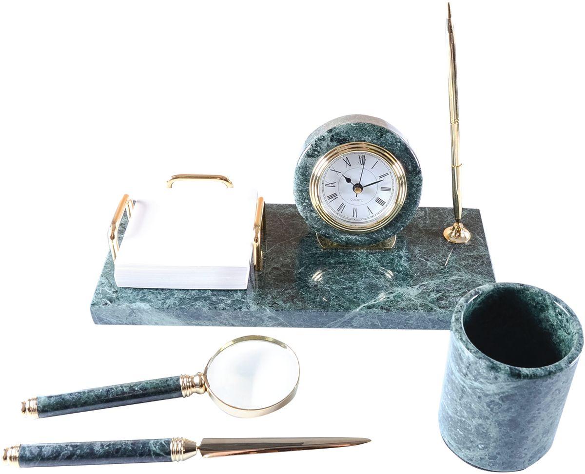 Delucci Канцелярский набор 4 предмета цвет зеленый мраморMBm_00003В канцелярский набор Delucci входят: стакан для карандашей и ручек, лупа, нож для писем и подставка под шариковую ручку с часами. Батарейка для часов входит в комплект, цвет чернил шариковой ручки - синий.