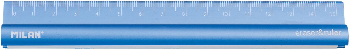 Milan Линейка с ластиком цвет синий 15 см352910Металлическая линейка Milan на 15 сантиметров оснащена ластиком.Благодаря небольшой длине линейка легко поместится в ваш пенал и гарантирует рисование прямых и ровных таблиц и рисунков.