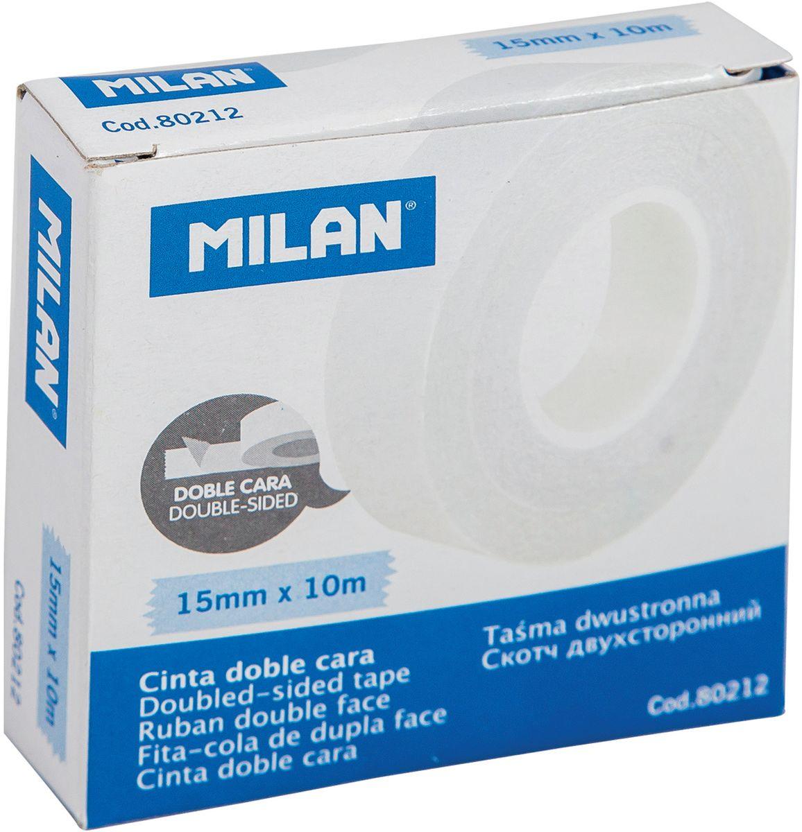 Milan Клейкая лента двусторонняя 10 м х 15 мм лента клейкая двусторонняя folsen ткань 50мм х 5м