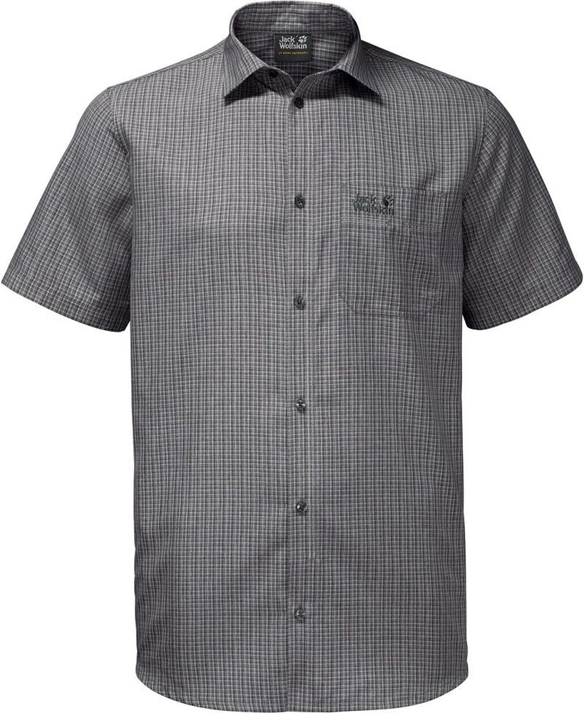Рубашка мужская Jack Wolfskin El Dorado Shirt M, цвет: серый, черный. 1401052-7851. Размер M (46)1401052-7851Рубашка мужская El Dorado Shirt M изготовлена из 100% полиэстера. Ткань позволяет телу дышать, эффективно отводит влагу и быстро сохнет. Модель идеально подходит для летней погоды и поездок в жаркие страны, так как обеспечивает хорошую терморегуляцию. Рубашка застегивается на пуговицы, имеет отложной воротник и короткие стандартные рукава. Спереди расположен накладной нагрудный карман. Рубашка дополнена принтом в клетку и логотипом бренда.