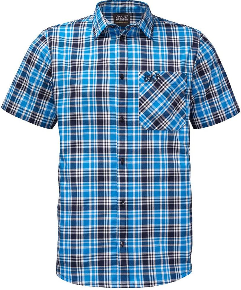 Рубашка мужская Jack Wolfskin Saint Elmos Shirt M, цвет: голубой. 1401582-7630. Размер L (48/50)1401582-7630Рубашка мужская Saint Elmos Shirt M изготовлена из 100% полиамида. Ткань легкая и дышащая, кроме того, она быстро сохнет и обладает защитой от ультрафиолета (UPF 30+). Рубашка застегивается на пуговицы, имеет отложной воротник и короткие стандартные рукава. Спереди расположен накладной нагрудный карман, по бокам имеются вшитые карманы. Модель дополнена принтом в клетку и логотипом бренда. Такая рубашка идеально подходит для путешествий в жаркие страны и отдыха на природе.