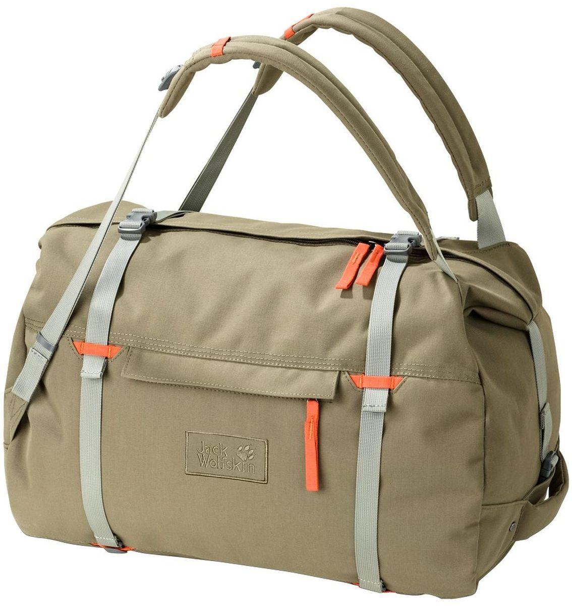 Сумка-рюкзак Jack Wolfskin Roamer 80 Duffle, цвет: хаки, оранжевый. 2005451-5033