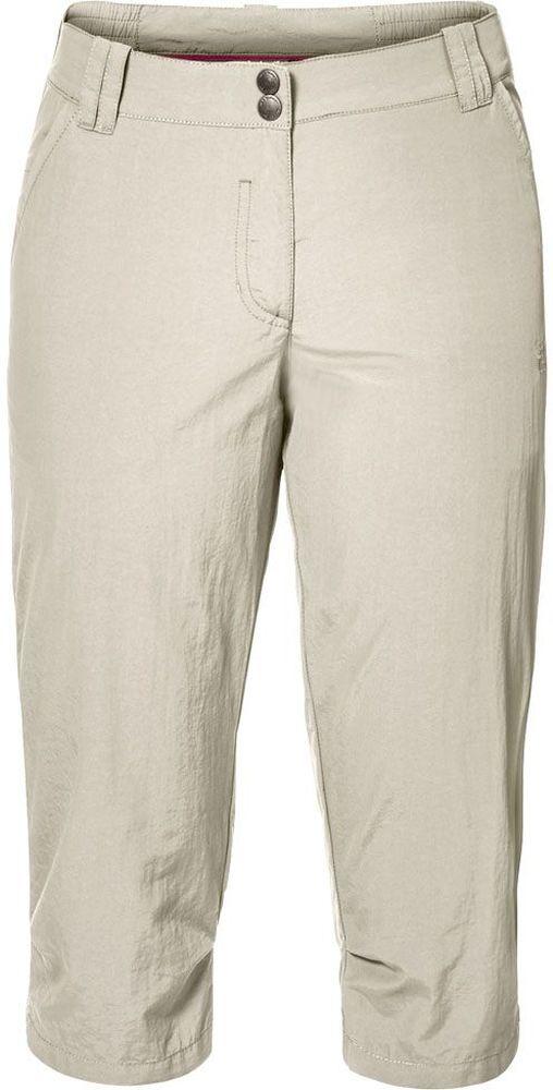 Бриджи женские Jack Wolfskin Kalahari 3/4 Pants W, цвет: бежевый. 1503301-5017. Размер 42 (50/52)1503301-5017Бриджи женские Kalahari 3/4 Pants W выполнены из ткани SUPPLEX (100% полиамид). Бриджи имеют множество преимуществ, особенно практичных в путешествии по жарким регионам: они легкие, защищают от ультрафиолетового излучения (UPF 40+) и упаковываются очень компактно. К тому же материал очень быстро сохнет. Модель застегивается на ширинку с молнией и пуговицу в поясе. Пояс дополнен шлевками для ремня. Бриджи имеют два втачных кармана спереди и два кармана сзади. Kalahari 3/4 Pants W - сочетание нужных качеств для путешествий, летних походов и будней.