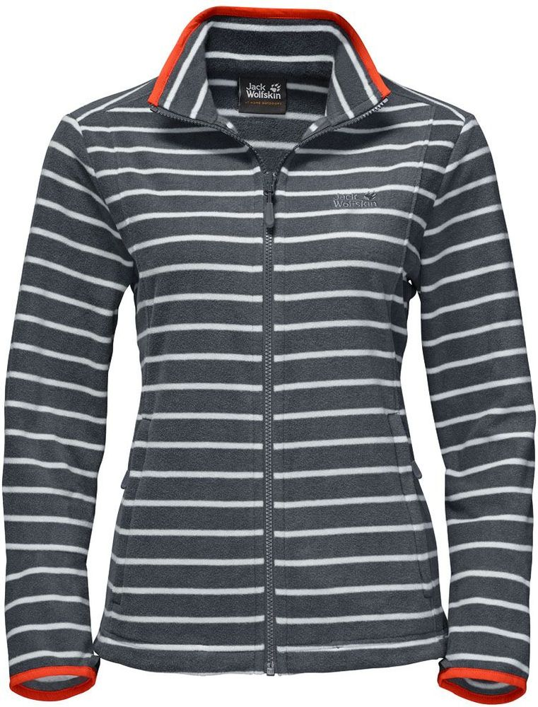 Толстовка женская Jack Wolfskin Kiruna Striped W, цвет: серый, белый. 1704731-9511. Размер XS (42)1704731-9511Толстовка женская Kiruna Striped W изготовлена из микрофлиса (100% полиэстер), который прекрасно сохраняет тепло. Модель застегивается на молнию, имеет воротник-стойку и длинные стандартные рукава. По бокам расположены вшитые карманы на молнии. Толстовка очень компактно складывается и не занимает много места при хранении в вашем рюкзаке. Молния толстовки системная, что позволяет сочетать модель с любым совместимым дождевиком. Изделие дополнено принтом в полоску и логотипом бренда на груди. Такая модель идеально подходит для походов, хайкинга, пешего туризма.