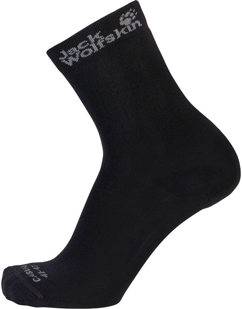 Носки Jack Wolfskin Casual Sock Classic Cut, цвет: черный, 2 пары. 1904511-6000. Размер 44/46 носки hummel носки ankle sock smu