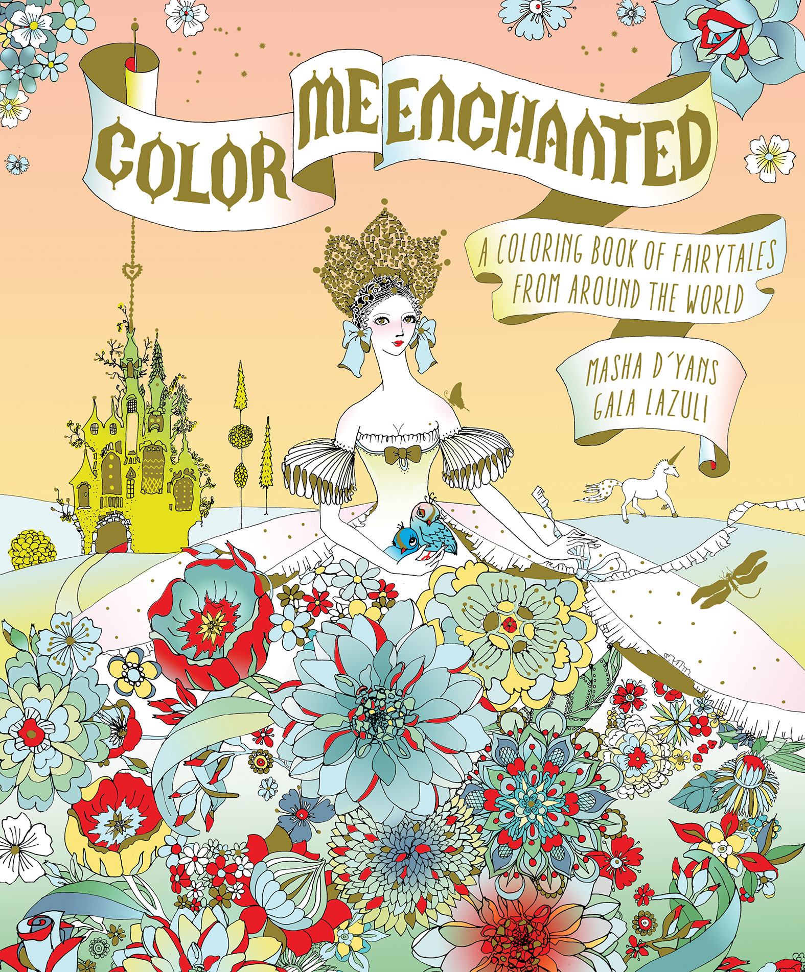 Color Me Enchanted: A Coloring Book of Fairy Tales from Around the World a cat a hat and a piece of string