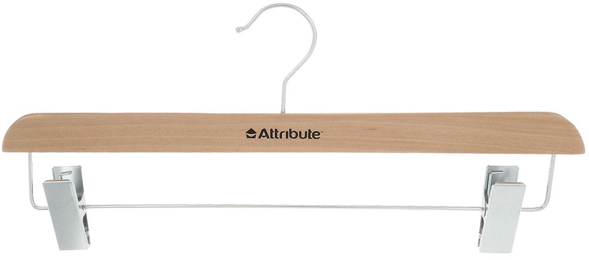 Вешалка для юбок Attribute Hanger Classic, с клипсами, цвет: бежевый, длина 38 смAHN611Вешалка Attribute Hanger Classic изготовлена из дерева и металла, снабжена клипсами для юбок. Клипсы имеют специальные пластиковые вставки, чтобы не повредить ткань. Вешалка - это незаменимый аксессуар для того, чтобы ваша одежда всегда оставалась в хорошем состоянии. Длина вешалки: 38 см.