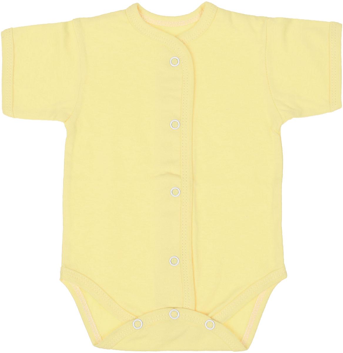 Боди детское Чудесные одежки, цвет: желтый. 5869. Размер 805869Детское боди Чудесные одежки выполнено из натурального хлопка.Боди с короткими рукавами и круглым вырезом горловины застегивается на кнопки на ластовице и спереди, что позволяет легко и быстро одеть малыша или поменять подгузник. Горловина, манжеты рукавов, полочки и проймы для ножек отделаны трикотажной лентой.