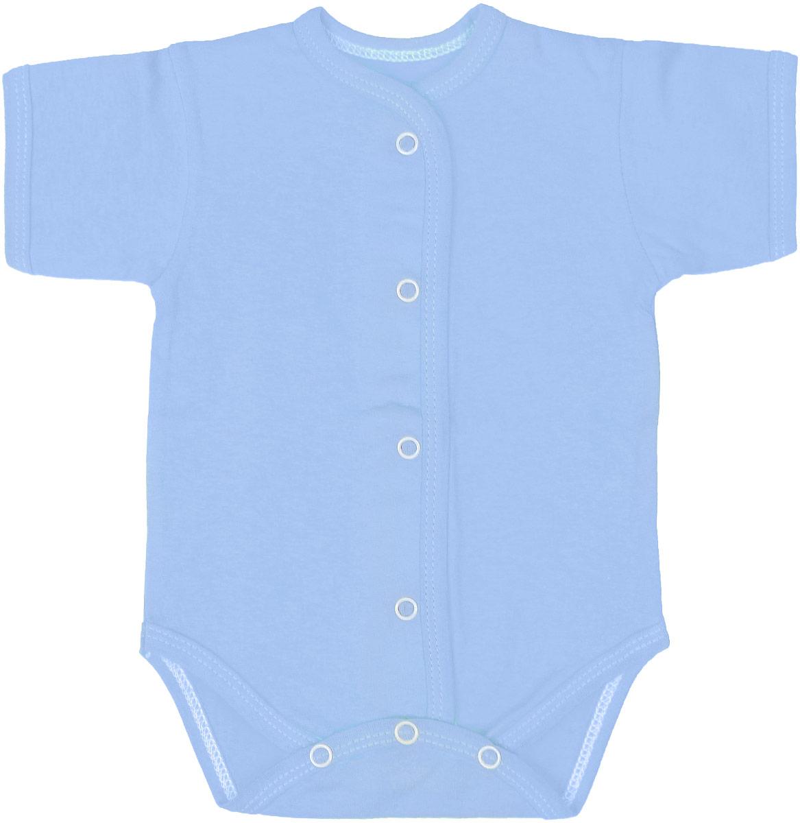 Боди детское Чудесные одежки, цвет: голубой. 5869. Размер 565869Детское боди Чудесные одежки выполнено из натурального хлопка.Боди с короткими рукавами и круглым вырезом горловины застегивается на кнопки на ластовице и спереди, что позволяет легко и быстро одеть малыша или поменять подгузник. Горловина, манжеты рукавов, полочки и проймы для ножек отделаны трикотажной лентой.