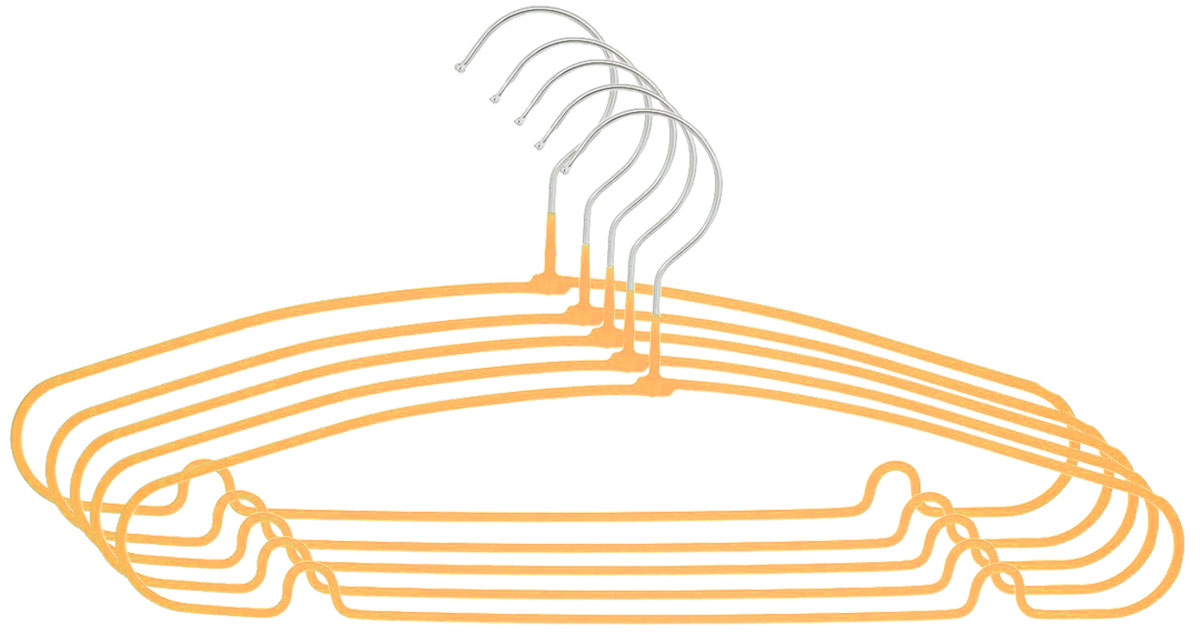 Вешалка Attribute Hanger Home, цвет: оранжевый, длина 40 см, 5 штAHS154_оранжевыйНабор вешалок Attribute Hanger Home выполнен из стали, обтянутой материалом из ПВХ. Вешалка - это незаменимая вещь для того, чтобы ваша одежда всегда оставалась в хорошем состоянии.Длина вешалки: 40 см.