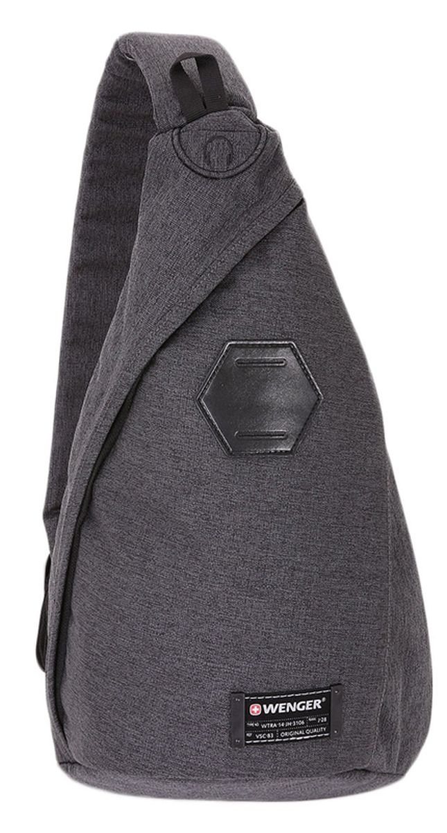 Рюкзак Wenger, цвет: темно-серый. 26074245502607424550Рюкзак Wenger выполнен из высококачественного нейлона и оформлен фирменной нашивкой. Изделие оснащено местом для медиаплеера и встроенным отверстием для наушников. Рюкзак оснащено ручкой для подвешивания и удобным широким наплечным ремнем, длину которого можно изменять с помощью пряжки. Закрывается рюкзак с помощью застежки молнии. Внутри расположено главное отделение, которое содержит небольшие карманы для мелочей.