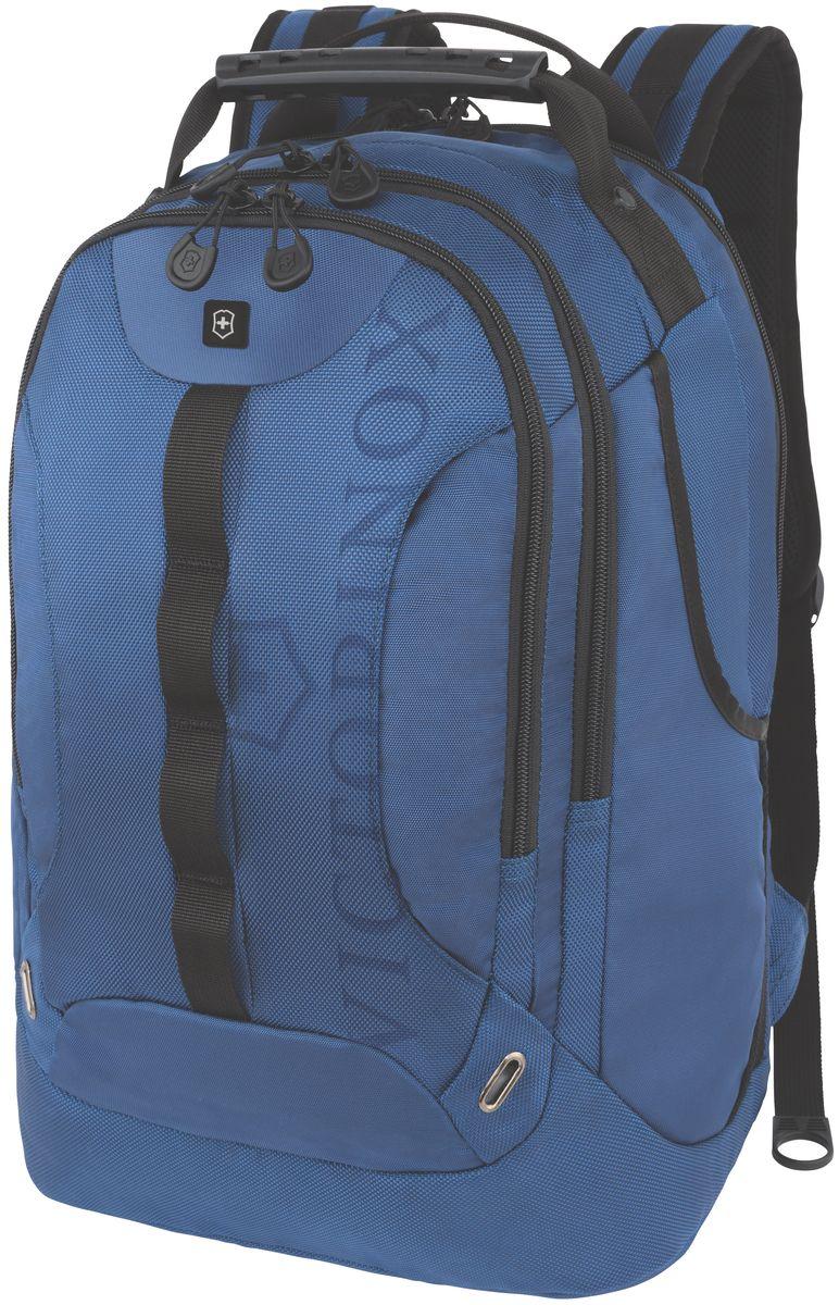 Рюкзак Victorinox VX Sport Trooper, цвет: голубой, 28 л + ПОДАРОК: нож-брелок Escort31105309Оригинальный швейцарский армейский нож Swiss Army был создан в 1897 году в небольшой деревушке Ибах в Швейцарии. С тех пор продукция, выпускаемая под маркой Victorinox с ее узнаваемым логотипом в виде креста на щите, по праву считается эталоном отличного качества, высокой функциональности, инновационных технологий и культового дизайна. Преданность принципам в течение последних 130 лет позволила создавать продукты, которые являются выдающимися не только по дизайну и качеству, но которые также являются надежными спутниками в больших и маленьких жизненных приключениях. Сегодня фирма с гордостью представляет линейку сумок, чемоданов и дорожных аксессуаров, которые наилучшим образом воплощают в себе данные принципы, а также сочетают в себе черты лучшего классического стиля. Коллекция VX Sport сочетает в себе культовый дизайн и прочную конструкцию. Основанные на многогранной функциональности, которая присуща оригинальному швейцарскому ножу, рюкзаки этой коллекции обеспечивают защиту современным технологическим устройствам и многофункциональную организацию вещей таким образом, что вы будете готовы к любой ситуации. Коллекция VX Sport обеспечит длительный комфорт и долговечность. Прототип модели прошел целых 30 основательных и строгих испытаний, в ходе которых проводилась симуляция самых экстремальных сценариев и условий внешней среды, возможных в реальной жизни. Жесткий режим проводимых тестов гарантирует точность, прочность и износоустойчивость, т. е. все признаки высокого качества и эксплуатационных характеристик, которые покупатель ожидает от продукции Victorinox. Далее каждое изделие проходит тщательный контроль сертифицированным техническим специалистом. Характеристики и свойства: Мягкое отделение для ноутбука диагональю 16 (41см) с гладкой, устойчивой к механическим повреждениям подкладкой Мягкий карман для портативного электронного устройства диагональю 10 (25 см) с гладкой, 