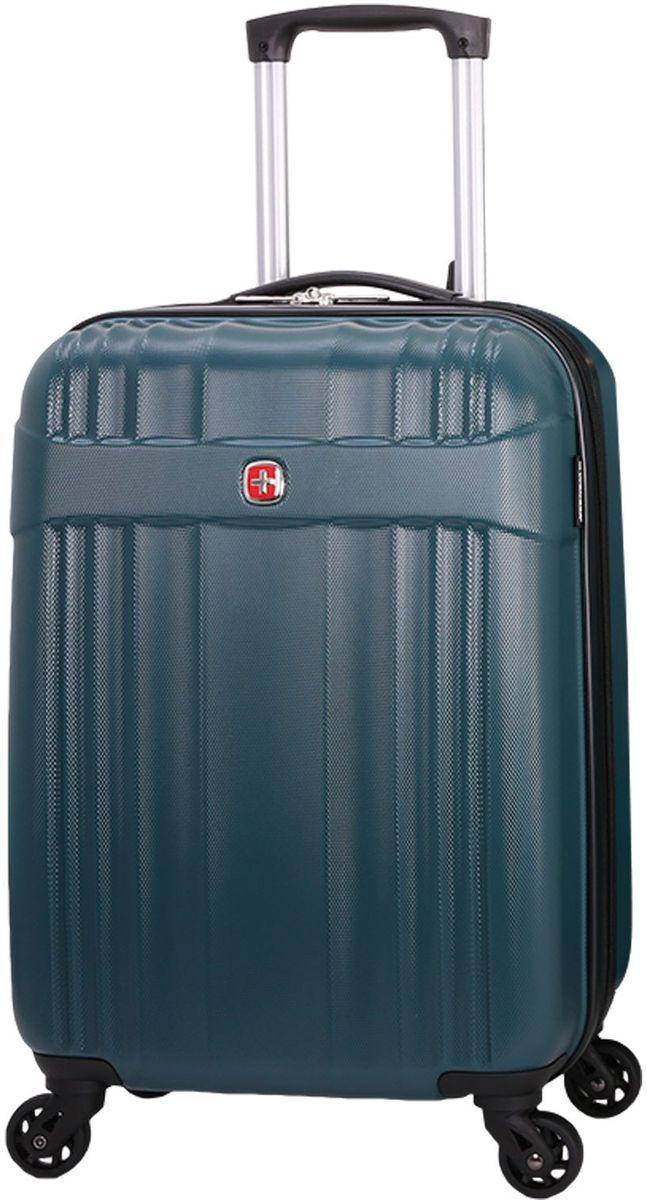 Чемодан Wenger Emme, цвет: морской волны. 63576361546357636154Чемодан Wenger выполнен из ABS пластика и оформлен фирменной пластинкой. Изделие оснащено регулируемой выдвижной ручкой из авиационного алюминия с фиксатором, которая обеспечивает удобство перемещения чемодана. Также чемодан имеет удобные прочные ручки для переноски и 4 колеса, которые вращаются на 360 градусов, гарантируя максимальную манёвренность. Чемодан имеет два главных отделение, которые закрываются с помощью застежки-молнии. Внутри расположено два вместительных отделения, разделенные сетчатой тканевой перегородкой на молнии. Внутренний карман на молнии и эластичные ремни гарантируют надежную фиксацию вещей на месте. Вместимость чемодана может быть дополнительно увеличена на 5 см.Как выбрать чемодан. Статья OZON Гид