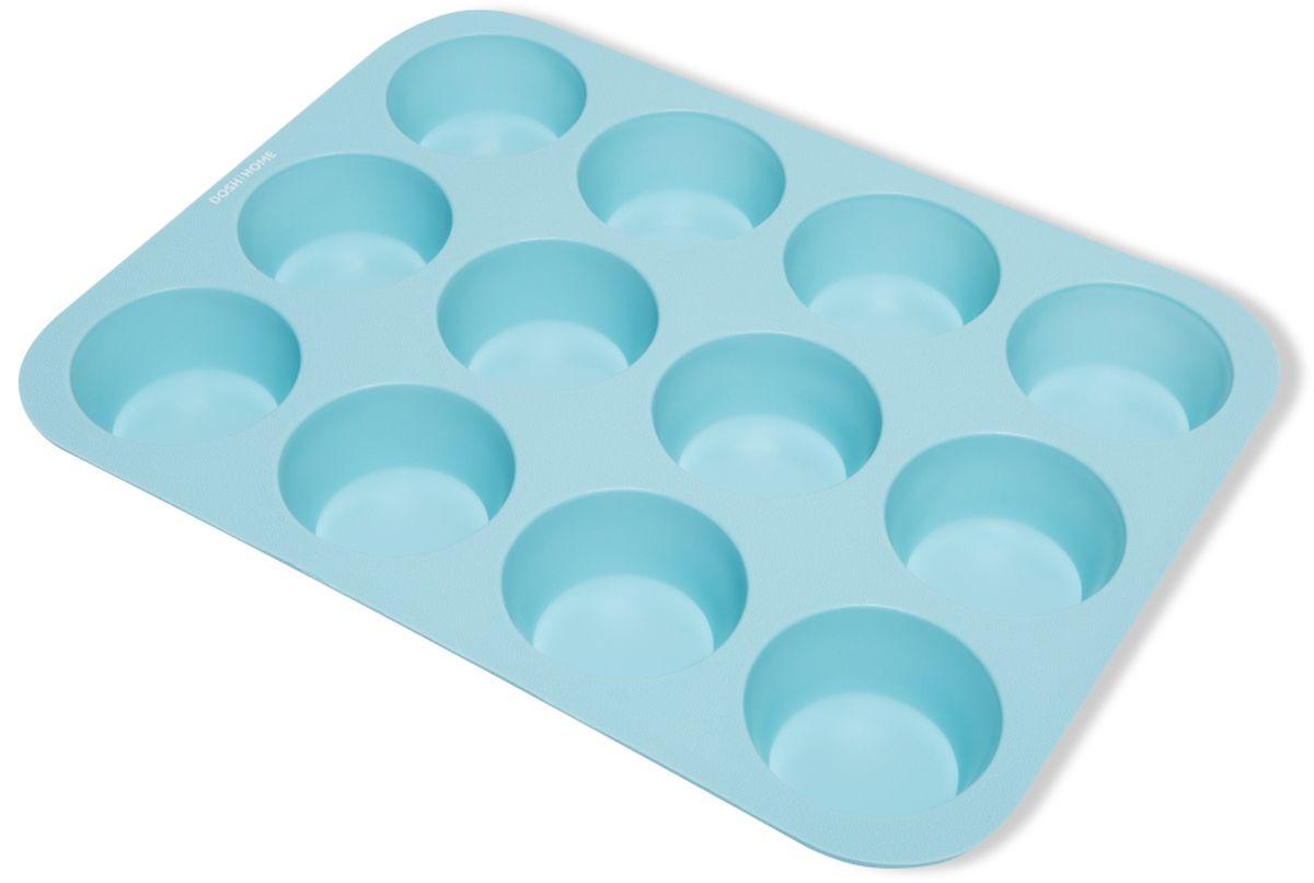 Форма для выпечки мини-кексов Dosh l Home PAVO, силиконовая, цвет: голубой, 12 ячеек кисточка кулинарная dosh l home pavo цвет голубой