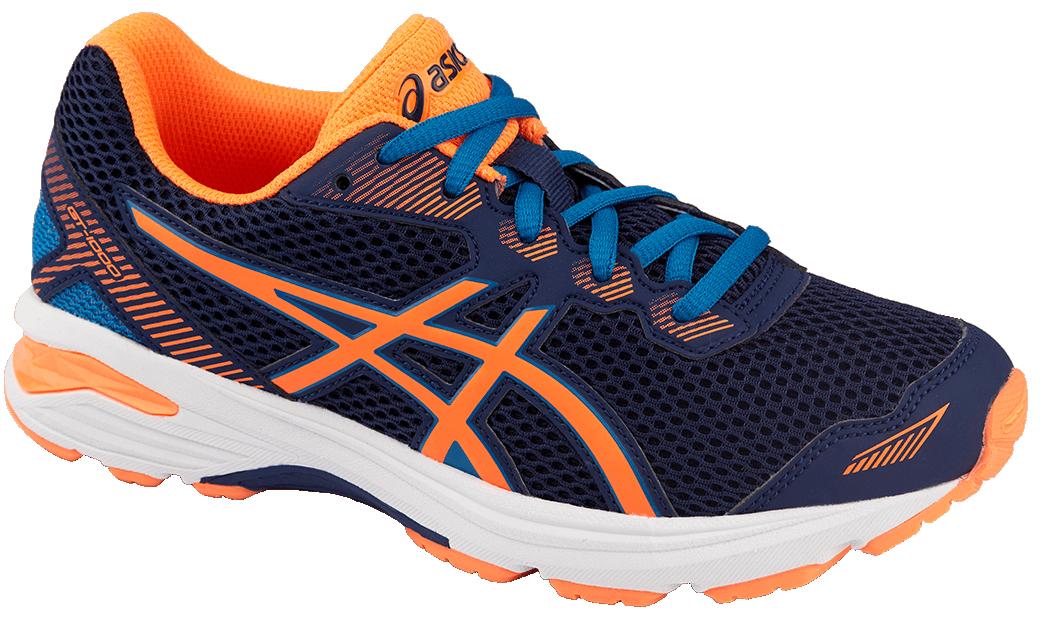 Кроссовки детские Asics Gt-1000 5 Gs, цвет: темно-синий, оранжевый. C619N-4930. Размер 2 (32)C619N-4930Мечтает ли ваш ребенок однажды стать марафонцем или желает быть самым ловким на спортплощадке, детские беговые кроссовки Asics Gt-1000 5 Gs - то, что нужно: амортизация и защита ногам обеспечены. Комфортные упругие кроссовки будто созданы для непрерывной активности. Эта высококлассная модель буквально напичкана техническими фишками. Система поддержки в задней части стопы Gel Support System уменьшает ударное воздействие и делает приземление пружинистым. Средняя подошва Duomax из двух материалов с различной плотностью гарантирует устойчивость стопы. Ощущение легкости в невесомой дышащей модели. Видимость в темноте благодаря светоотражающим деталям.