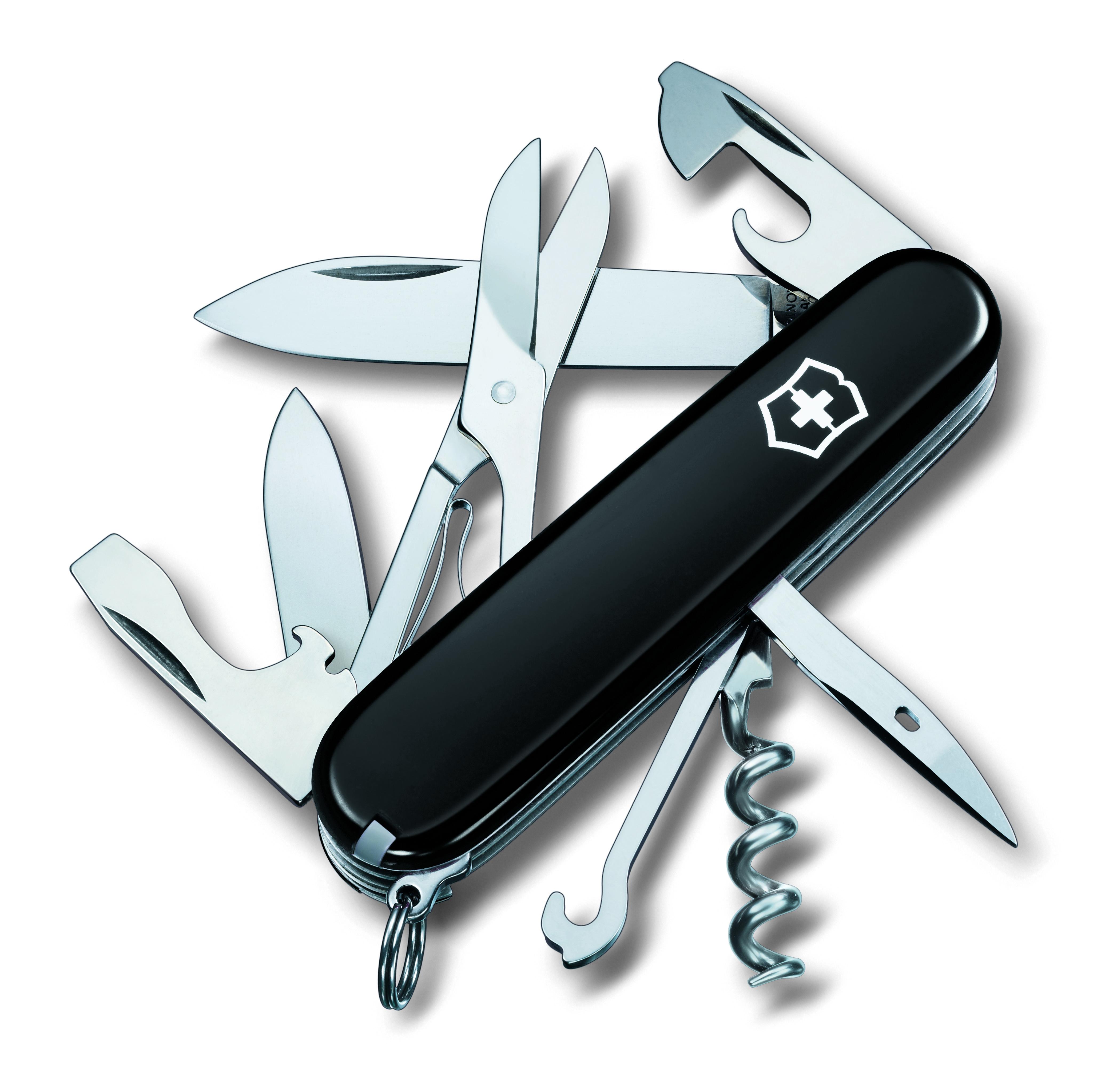 Нож перочинный Victorinox Climber, 14 функций, цвет: черный, длина клинка 68 мм1.3703.3Маленький красный карманный нож с эмблемой креста на щите на рукояти — самый узнаваемый символ компании Victorinox.В 1897 году основатель компании Карл Эльзенер разработал первый Швейцарский армейский нож. Более 130 лет компания Victorinox разрабатывает продукты,которые не просто уникальны по дизайну и качеству,но и способны стать верными спутниками по жизни как для великих,так и для небольших приключений. Швейцарский армейский нож Climber имеет 14 функций:1. Большое лезвие2. Малое лезвие3. Штопор4. Консервный нож с:5. – Малой отвeрткой6. Открывалка для бутылок с:7. – Отверткой8. – Инструментом для снятия изоляции9. Шило, кернер10. Кольцо для ключей11. Пинцет12. Зубочистка13. Ножницы14. Многофункциональный крючокРекомендуемые чехлы: 4.0480.1, 4.0480.3, 4.0520.1, 4.0520.3, 4.0520.31, 4.0520.32, 4.0543.3, 4.0533Рекомендуемые аксессуары:Инструмент для заточки: 4.3311, 4.3323, 4.0567.32Держатели на ремень: 4.1853, 4.1858, 4.1859, 4.1860Цепочки длинные: 4.1813, 4.1814, 4.1815Цепочки короткие: 4.1820Комбинированные цепочки: 4.1854Шнурок с карабином: 4.1879Масло смазочное: 4.3301