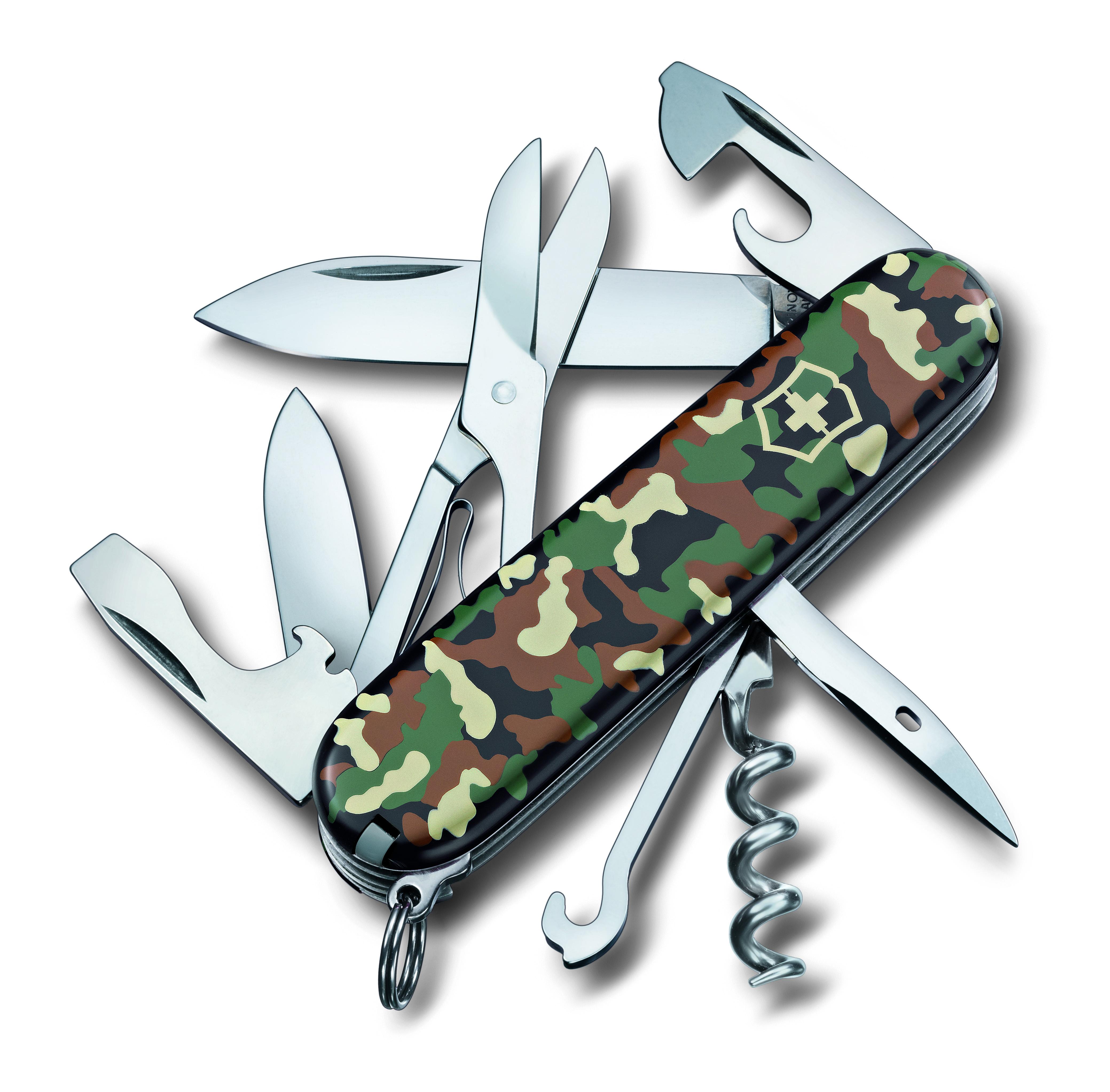 Нож перочинный Victorinox Climber, 14 функций, цвет: камуфляж, длина 9,1 см1.3703.94Лезвие перочинного складного ножа Victorinox Climber изготовлено из высококачественной нержавеющей стали. Ручка, выполненная из прочного пластика, обеспечивает надежный и удобный хват.Хорошее качество, надежный долговечный материал и эргономичная рукоятка - что может быть удобнее на природе или на пикнике! Функции ножа:- Большое лезвие.- Малое лезвие.- Штопор.- Консервный нож.- Малая отвертка.- Открывалка для бутылок.- Отвертка.- Инструмент для снятия изоляции.- Шило, кернер.- Кольцо для ключей.- Пинцет.- Зубочистка.- Ножницы.- Многофункциональный крючок.