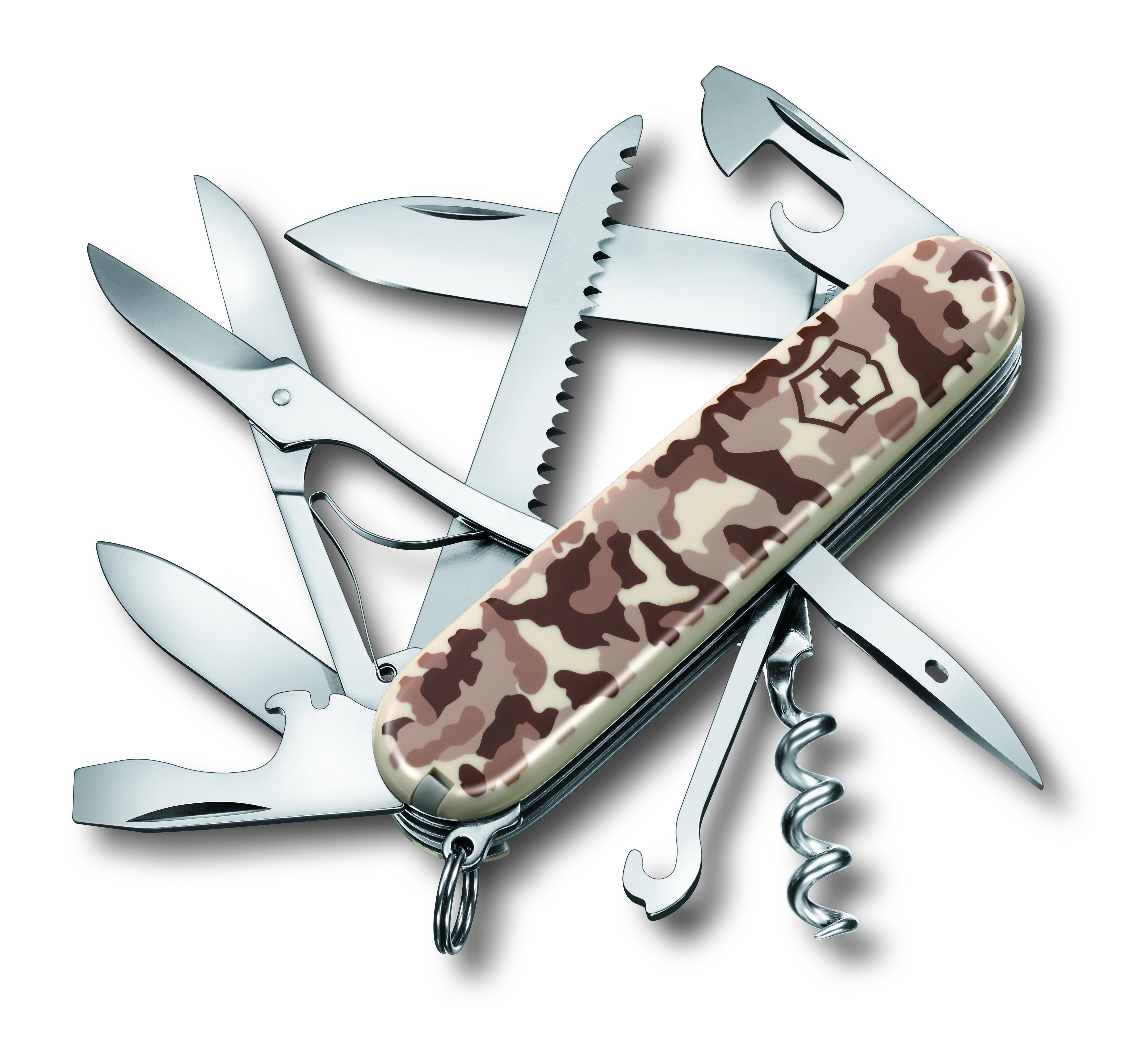 Нож перочинный Victorinox Huntsman Desert Camouflage, 15 функций, длина 9,1 см1.3713.941Лезвие перочинного складного ножа Victorinox Huntsman Desert Camouflage изготовлено из высококачественной нержавеющей стали. Ручка, выполненная из прочного пластика, обеспечивает надежный и удобный хват.Хорошее качество, надежный долговечный материал и эргономичная рукоятка - что может быть удобнее на природе или на пикнике!Функции ножа:Большое лезвие.Малое лезвие.Штопор.Консервный нож с малой отверткой.Открывалка для бутылок с отверткой.Инструментом для снятия изоляции.Шило, кернер.Кольцо для ключей.Пинцет.Зубочистка.Ножницы.Многофункциональный крючок.Пила по дереву.Длина ножа в сложенном виде: 9,1 см.