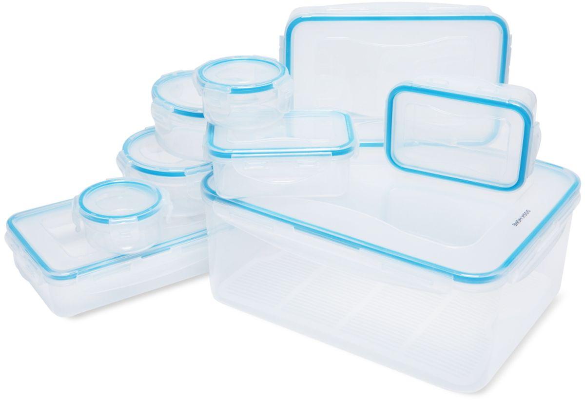 Набор контейнеров Dosh l Home SAGITTA, 18 шт600115Набор контейнеров Dosh l Home SAGITTA отлично подходит для хранения и переноса продуктов питания. С герметичной и водонепроницаемойкрышкой - пища дольше остается свежей, сохраняет аромат и не вытекает при переносе.Контейнеры изготовлены из прочного пластика, с высококачественным силиконовым уплотнением.Устойчивость от до -18 +110 ° C, подходит для холодильника, морозильника и микроволновой печи, можно мыть в посудомоечной машине.