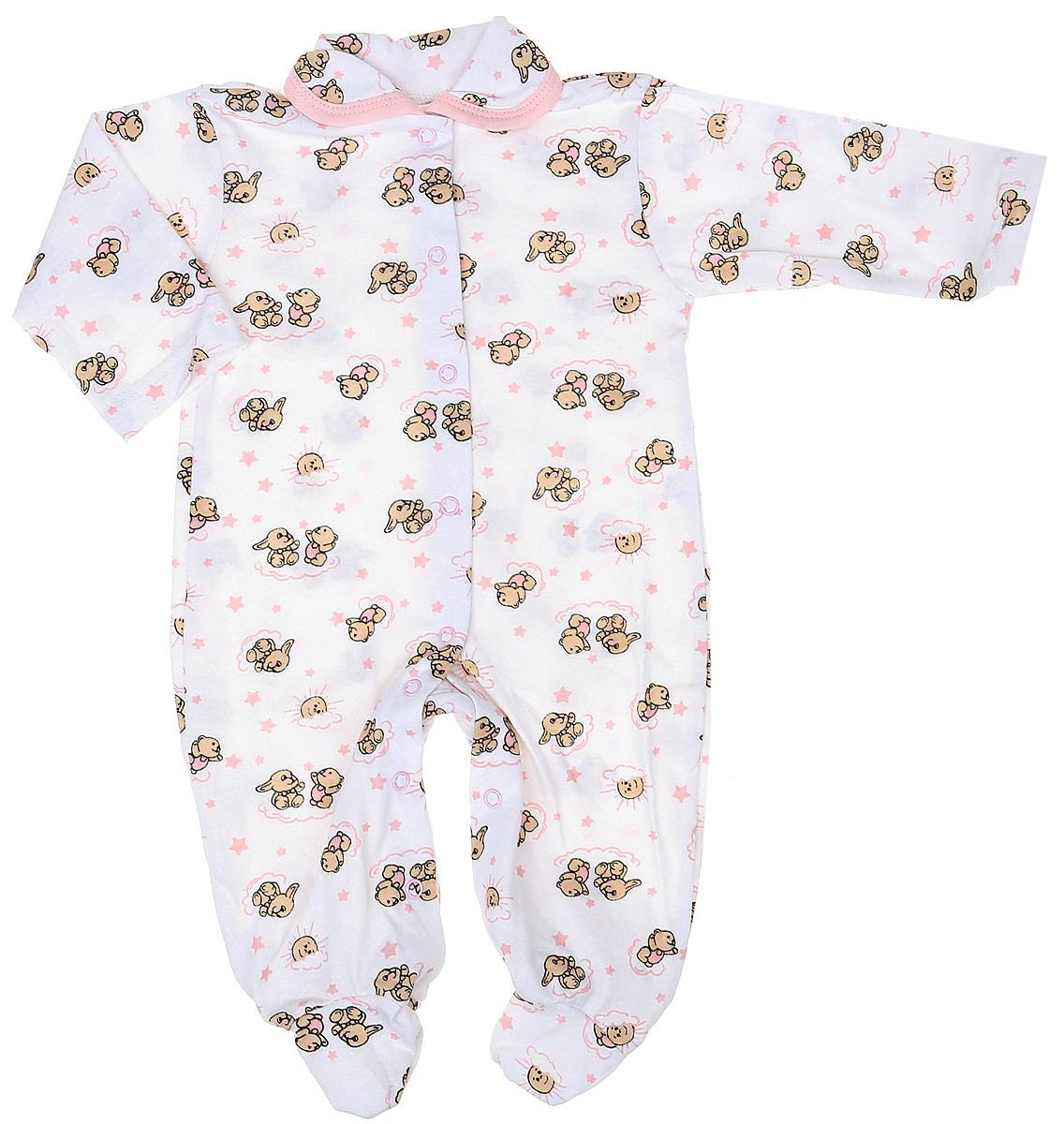 Комбинезон детский Чудесные одежки, цвет: белый, розовый. 5805. Размер 745805Детский комбинезон Чудесные одежки выполнен из натурального хлопка.Комбинезон с отложным воротничком, длинными рукавами и закрытыми ножками имеет застежки-кнопки спереди и на ластовице, которые помогают легко переодеть младенца или сменить подгузник. Изделие оформлено принтом с изображением зайчиков.