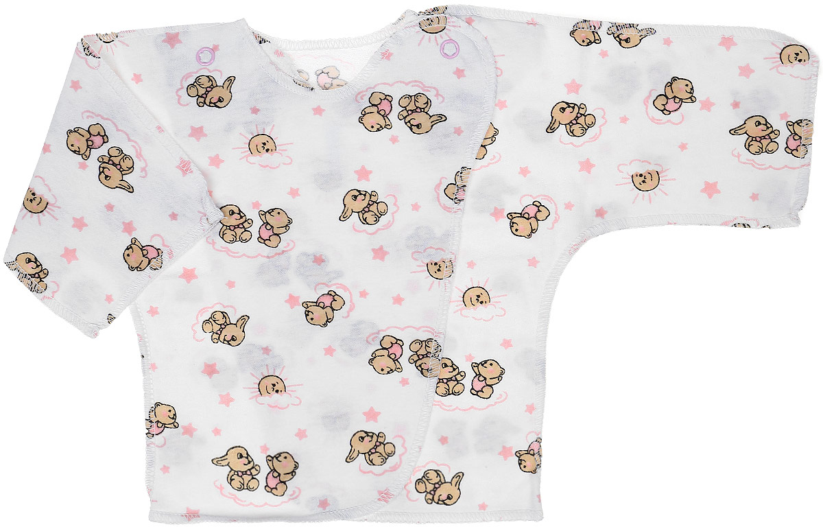 Распашонка-кимоно Чудесные одежки, цвет: белый, розовый. 5002. Размер 565002Удобная детская распашонка Чудесные одежки послужит идеальным дополнением к гардеробу вашей крохи. Модель изготовлена из натурального хлопка, благодаря чему она очень мягкая и легкая.Распашонка с круглым вырезом горловины и длинными цельнокроеными рукавами выполнена швами наружу. Модель-кимоно застегивается на внутреннюю и внешнюю кнопку, что помогает при переодевании малыша. Оформлена распашонка интересным принтом с изображением зайчиков.