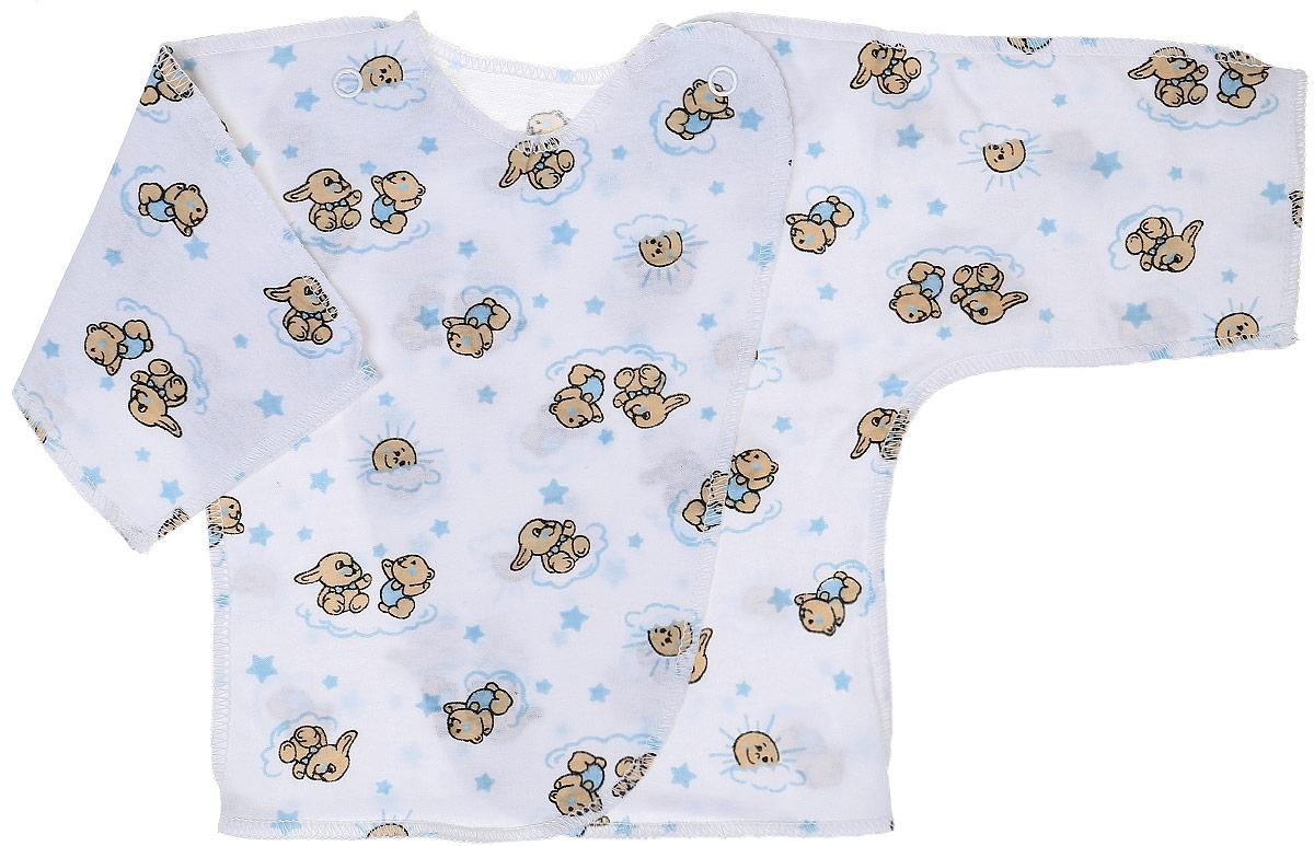 Распашонка-кимоно Чудесные одежки, цвет: белый, голубой. 5002. Размер 625002Удобная детская распашонка Чудесные одежки послужит идеальным дополнением к гардеробу вашей крохи. Модель изготовлена из натурального хлопка, благодаря чему она очень мягкая и легкая.Распашонка с круглым вырезом горловины и длинными цельнокроеными рукавами выполнена швами наружу. Модель-кимоно застегивается на внутреннюю и внешнюю кнопку, что помогает при переодевании малыша. Оформлена распашонка интересным принтом с изображением зайчиков.