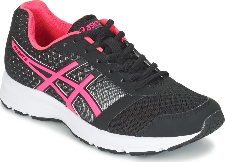 Кроссовки для бега женские Asics Patriot 8, цвет: черный, розовый. T669N-9020. Размер 8H (38,5)T669N-9020Кроссовки для бега Asics Patriot 8 выполнены из сетчатого текстиля комбинированных цветов и дополнены элементами из искусственной кожи. Модель оформлена фирменными нашивками. На ноге модель фиксируется с помощью шнурков. Внутренняя поверхность выполнена из мягкого сетчатого текстиля. Стелька выполнена из ЭВА-материала с поверхностью из текстиля. Подошва изготовлена из легкого и гибкого ЭВА-материала. Поверхность подошвы выполнена из прочной резины и дополнена протектором, который гарантирует отличное сцепление с любой поверхностью.