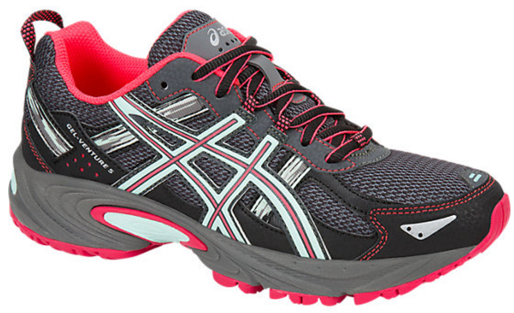 Кроссовки для бега женские Asics Gel-Venture 5, цвет: серый, розовый. T5N8N-9720. Размер 7 (36,5)T5N8N-9720Кроссовки Asics Gel-Venture 5 зарекомендовали себя как отличные внедорожники и просто универсальные кроссовки. В первую очередь предназначены для бега по пересеченной местности, а также хорошо ведут себя и при использовании на асфальтовом покрытии. AHAR+ - резина повышенной износостойкости, которая продлевает срок службы обуви. GEL в пятке отлично справляется с функцией поглощения ударов и снижения нагрузки на суставы.