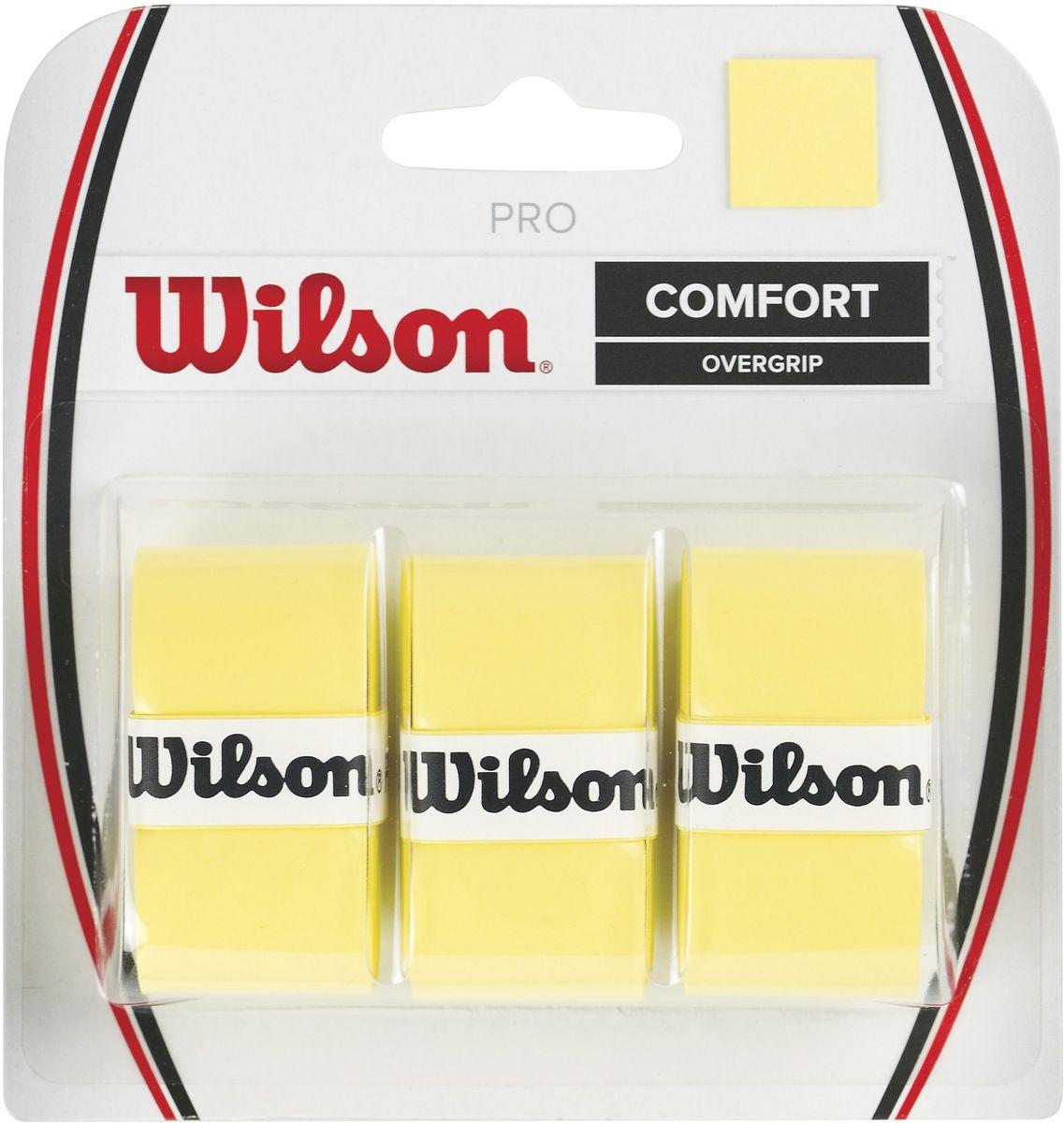 Намотка Wilson Pro Overgrip, цвет: желтый, 3 штWRZ4014YEНамотка Wilson Pro Overgrip -это универсальная эффективность и превосходная чувствительность, которую предпочитают профессионалы. Это самый популярный овергрип в мире. Используют Роджер Федерер, Серена Уильямс и многие другие.В упаковке: 3 штукиТолщина оболочки: 0,6 мм