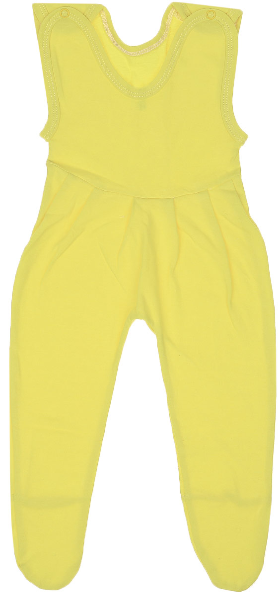 Ползунки с грудкой Чудесные одежки, цвет: желтый. 5201. Размер 805201Детские ползунки с грудкой Чудесные одежки выполнены из натурального хлопка. Модель с круглым вырезом горловины и закрытыми ножками дополнена кнопками на бретельках. Широкие бретельки не регулируются по длине. Горловина и бретели изделия дополнены контрастной бейкой. Оформлены ползунки в лаконичном стиле.