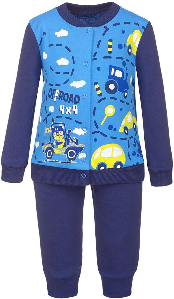 Комплект для мальчика M&D: кофточка, штанишки, цвет: синий, мультиколор. КМ14090109. Размер 74КМ14090109Комплект для мальчика M&D, состоящий из кофточки и штанишек, идеально подойдет вашему малышу. Изготовленный из натурального хлопка, он необычайно мягкий и приятный на ощупь. Кофточка с длинными рукавами застегивается на металлические кнопки по всей длине, которые позволяют с легкостью переодеть ребенка. Воротник, рукава и низ изделия дополнены эластичными резинками. Оформлено изделие затейливым принтом.Штанишки, благодаря эластичному поясу, не сдавливают животик ребенка и не сползают, обеспечивая ему наибольший комфорт, идеально подходят для ношения с подгузником и без него. Снизу брючины дополнены контрастными манжетами, не пережимающими ножку.