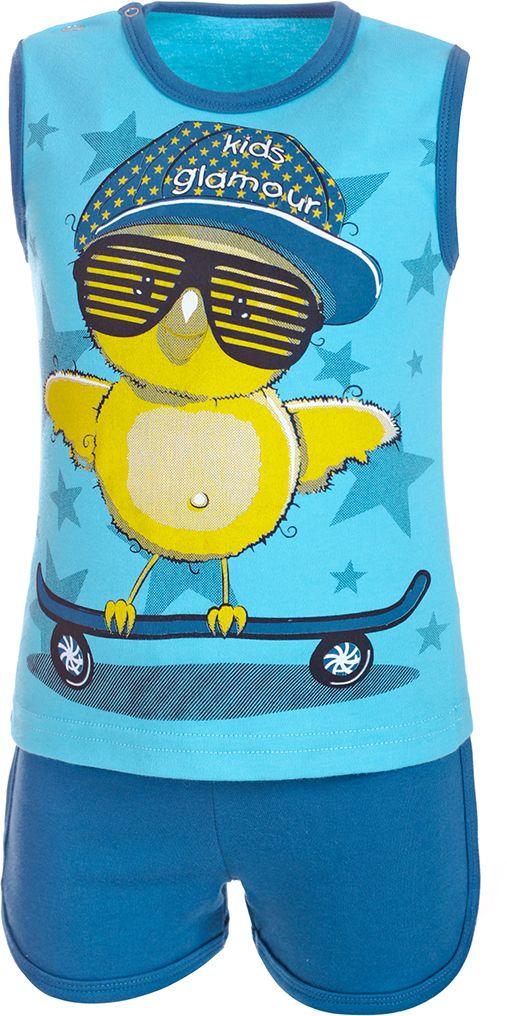 Комплект для мальчика M&D: майка, шорты, цвет: голубой, темно-синий. КМ14010428. Размер 86 29 2v 17a charger lifepo4 battery car battery charger for 24v 8s lifepo4 battery